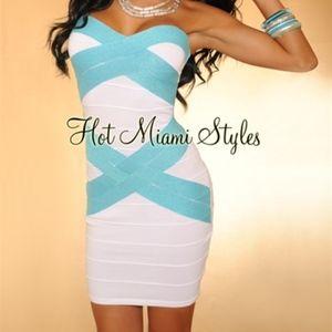 White Turquoise Shimmer Strapless Bandage Dress